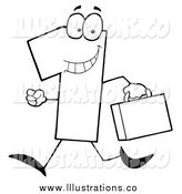 Royalty Free Stock Illustration of a Black and White Number One Guy Carrying a Briefcase or Suitcase by Hit Toon