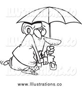 November 2nd, 2014: Royalty Free Stock Illustration of a Black and White Paranoid Businessman Wearing a Helmet Under an Umbrella by Toonaday