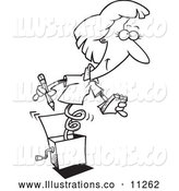 Royalty Free Stock Illustration of a Black and White Secretary Jack in the Box Woman by Toonaday