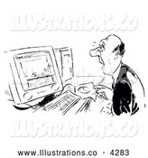 Royalty Free Stock Illustration of a Black and White Shocked Businessman Looking at a Computer by Alex Bannykh