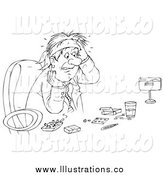 Royalty Free Stock Illustration of a Black and White Sketched Business Man Surrounded by Drugs by Alex Bannykh