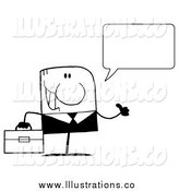 Royalty Free Stock Illustration of a Black and White Talking Businessman Giving a Thumb up by Hit Toon