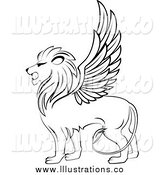 Royalty Free Stock Illustration of a Black and White Winged Lion by Vector Tradition SM