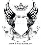 Royalty Free Stock Illustration of a Black and White Winged Shield with a Crown and Blank Banner by Vector Tradition SM