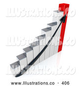 November 11th, 2013: Royalty Free Stock Illustration of a Black Arrow Going up a Bright Silver and Red Bar Graph Chart Depicting an Increase in Sales by 3poD