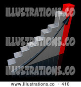 November 11th, 2013: Royalty Free Stock Illustration of a Black Ascending Arrow Going up a Silver and Red Bar Graph Chart over a Black Background, Depicting an Increase in Sales by 3poD