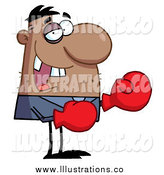 Royalty Free Stock Illustration of a Black Boxer Businessman with a Black Eye and Missing Teeth by Hit Toon