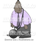 Royalty Free Stock Illustration of a Black Busienssman Restrained with a Ball and Chain by Djart