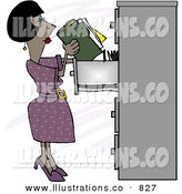 Royalty Free Stock Illustration of a Black Female Clerk Putting Documents into a Filing Cabinet by Djart