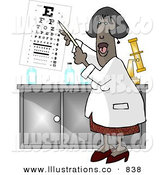 Royalty Free Stock Illustration of a Black Female Eye Doctor Pointing at an Eye Chart on White by Djart