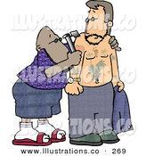 Royalty Free Stock Illustration of a Black Tattooer Applying a Permanent Decorative Tattoo to a Man's Upper Arm with a Tattoo Gun by Djart
