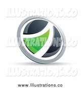 Royalty Free Stock Illustration of a Black White and Green Round Button by Beboy