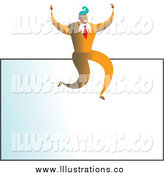 Royalty Free Stock Illustration of a Blank Business Card and Cheering Businessman by Prawny