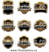 Royalty Free Stock Illustration of a Blank Gold and Black Labels by Vector Tradition SM