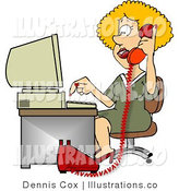 Royalty Free Stock Illustration of a Blond Customer Service Representative Woman Talking on Phone and Using Computer by Djart