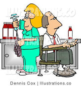 Royalty Free Stock Illustration of a Blonde Nurse Cleaning Needle After Drawing Blood Samples from Male Patient - Medical Humor by Djart