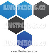 Royalty Free Stock Illustration of a Blue and Black Hexagon Honeycomb Network by Cidepix