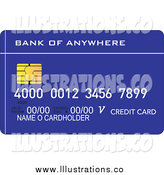 Royalty Free Stock Illustration of a Blue Credit Debit Card by Patrimonio