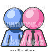 Royalty Free Stock Illustration of a Blue Employee Person Standing Beside a Pink Businessman by Leo Blanchette