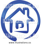 Royalty Free Stock Illustration of a Blue House in a Circle by Vector Tradition SM