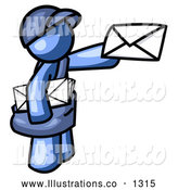 Royalty Free Stock Illustration of a Blue Mail Man Postal Worker Delivering a Letter by Leo Blanchette