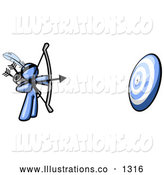 Royalty Free Stock Illustration of a Blue Man Aiming a Bow and Arrow at a Bullseye Target During Archery Practice by Leo Blanchette