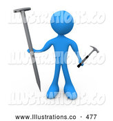 Royalty Free Stock Illustration of a Blue Man Holding a Large Nail and a Tiny Hammer, Stuck Dealing with Trying to Accomplish a Complicated Task by 3poD