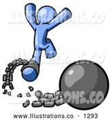 Royalty Free Stock Illustration of a Blue Man Prisoner Jumping for Joy While Breaking Away from a Ball and Chain, Getting a Divorce by Leo Blanchette