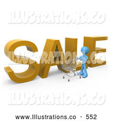 Royalty Free Stock Illustration of a Blue Man Pushing a Shopping Cart by a Large Golden Sale Sign in a Store by 3poD