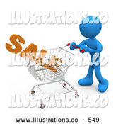 Royalty Free Stock Illustration of a Blue Man Pushing a Shopping Cart in a Store with the Word Sale in It by 3poD