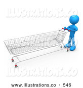 Royalty Free Stock Illustration of a Blue Man Pushing a Super Long Shopping Cart in a Store While Planning to Purchase a Lot by 3poD