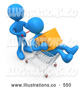 Royalty Free Stock Illustration of a Blue Man Pushing Another Person Who Is Holding a Cube and Riding in a Shopping Cart in a Store by 3poD