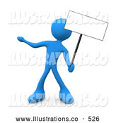 Royalty Free Stock Illustration of a Blue Man Standing and Holding up a Blank Sign for an Advertisement by 3poD