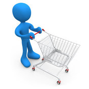Royalty Free Stock Illustration of a Blue Man Standing in a Store with a Shopping Cart by 3poD