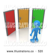 Royalty Free Stock Illustration of a Blue Man Standing in Front of Three Different Colored Doors, Symbolizing Different Paths to Take for Job Opportunities or Life Choices by 3poD