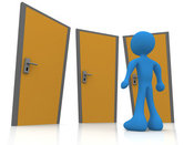 Royalty Free Stock Illustration of a Blue Man Standing in Front of Three Different Doors, Symbolizing Different Paths to Take for Job Opportunities or Life Choices by 3poD