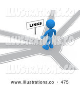 Royalty Free Stock Illustration of a Blue Man Standing on a Path That Forks off into Different Directions, Trying to Decide Which Way to Go While Facing a Links Sign by 3poD