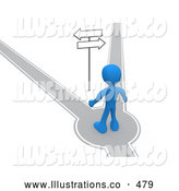 Royalty Free Stock Illustration of a Blue Man Standing on a Path That Forks off into Two Different Directions, Trying to Decide Which Way to Go While Facing Arrow Signs by 3poD