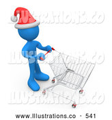 Royalty Free Stock Illustration of a Blue Man Wearing a Santa Hat and Pushing a Shopping Cart Through a Store While Christmas Shopping by 3poD