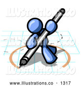 Royalty Free Stock Illustration of a Blue Office Man Holding a Pencil and Drawing a Circle on a Blueprint Graph Paper by Leo Blanchette