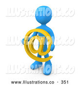 Royalty Free Stock Illustration of a Blue Person Holding a Yellow Email at Symbol in Front of Him by 3poD