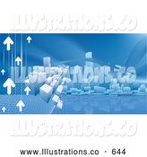 Royalty Free Stock Illustration of a Blue Technology Internet Web Background of Arrows Heading Towards a City Skyline Reflecting in Water by AtStockIllustration
