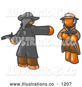 Royalty Free Stock Illustration of a Bold Orange Man Challenging Another Orange Man to a Duel with Pistils by Leo Blanchette