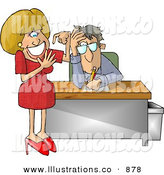 Royalty Free Stock Illustration of a Bored and Annoyed Businessman with a Stupid Secretary Counting Her Fingers by Djart