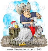 Royalty Free Stock Illustration of a Bored Farmer Getting Ready to Butcher a Chicken by Djart