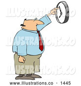 Royalty Free Stock Illustration of a Bored Office Worker Trying to Hurry up the Wall Clock by Pushing the Dial by Djart