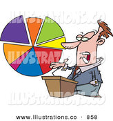 Royalty Free Stock Illustration of a Bored White Male Business Person Standing at a Podium, Discussing a Pie Chart by Toonaday