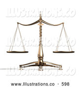 Royalty Free Stock Illustration of a Brass Weight Scales of Justice Balanced Evenly over a White Background by Anastasiya Maksymenko