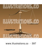 Royalty Free Stock Illustration of a Brass Weight Scales of Justice off Balance, Symbolizing Injustice by Anastasiya Maksymenko