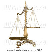 Royalty Free Stock Illustration of a Brass Weight Scales of Justice off Balance, Symbolizing Injustice on a White Background by Anastasiya Maksymenko